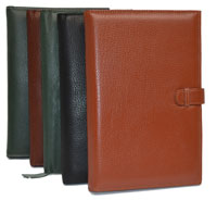 green, black, tan and camel leather journals